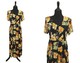 Positive Attitude Petite Vintage 1990's Black, Orange, Green, Floral Sundress / Sunflower Dress / Vintage Summer Dress / 90's Sundress