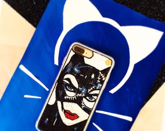 Catwoman phone case - iphone 7 plus case - catwoman - handmade- iPhone 6/6+ cases - Galaxy S7 - cat - beaded phone case - luxury phone case