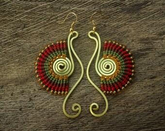 Tribal macrame & brass earrings