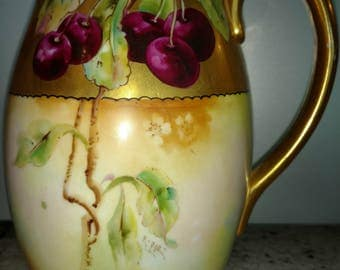 """Darcy's porcelain Hand Painted Artist Signed E. POE 8"""" tall Pitcher Pickard Quality Cherries"""