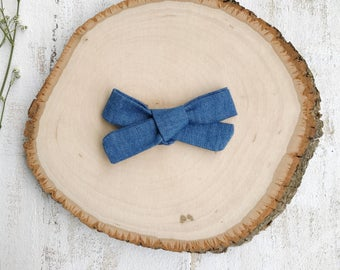 Denim Bow - School Girl Bows - Baby Bow - Toddler Clip - Baby Headband - Handmade Bow- Pigtail Set