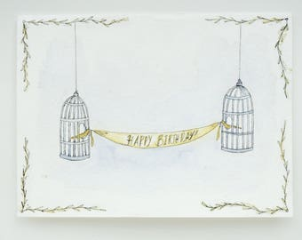 the birds' banner - a birthday card