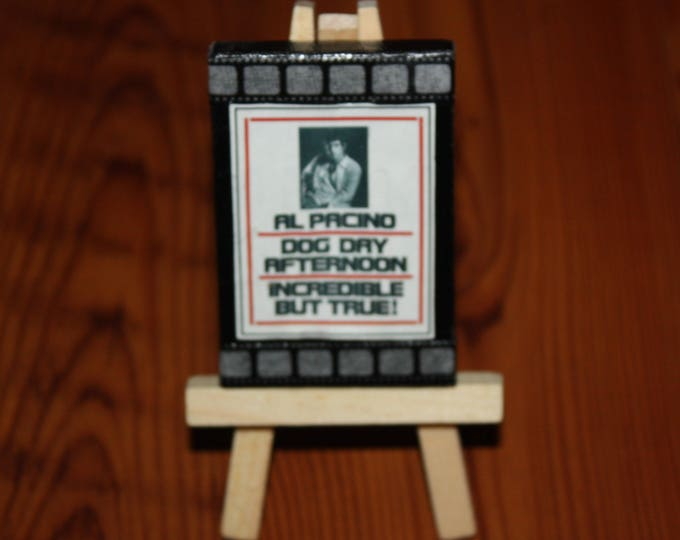 Vintage Al Pacino Dog Day Afternoon Mini Movie Poster Ad on Canvas Dollhouse Art