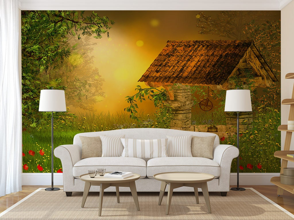 House in forest wall mural, peel and stick, wall covering, temporary ...