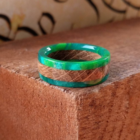Green Whiskey Barrel Wood Ring - Wood Ring Men Wood Wedding Ring  Woman Engagement Ring Anniversary
