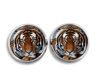 Tiger Stud Earrings Tiger Earrings Animal Jewelry Tiger Jewelry