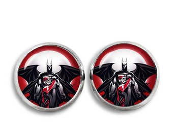Harley Quinn and Batmann Stud Earrings 12 mm Stud Earrings  Fandom Jewelry  Cosplay Fangirl Fanboy