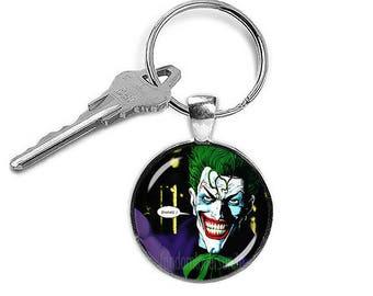 Joker Key Ring Keyfob  Joker Keychain Fandom Jewelry Cosplay Fangirl Fanboy