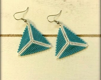 Blue Triangle Earrings | Blue Earrings | beaded Earrings | Gift for her | Nickel Free | Spring Jewelry | Seed bead Earrings | Short Earrings