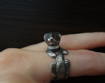 Ferret ring, Ferret Jewelry, ferret silver / Solid sterling silver (silver 925)
