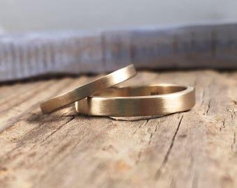 Gold Wedding Band Set - 14k Gold Wedding Band - Yellow Gold Wedding Ring - Gold Wedding Ring - Made to Order Wedding Ring