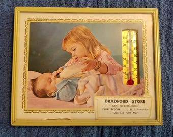 Vintage advertising with a working thermometer