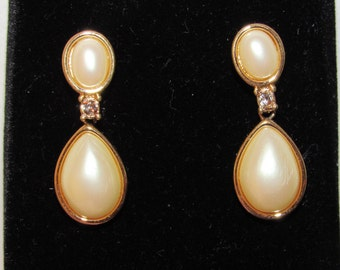 Vintage 1950/60 faux pearl and crystal drop earrings - converted from clip-on to pierced