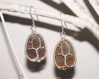 Moss Agate Tree of Life Earrings