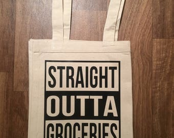 Straight OUtta Groceries Canvas Tote Bag