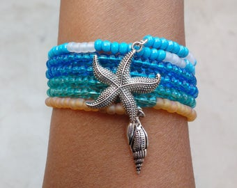 Starfish Bracelet, Seashell Bracelet, Seashore Bracelet, Memory Wire Bracelet, Wrap Around Bracelet, Sea Shell Bracelet, Ocean Bracelet