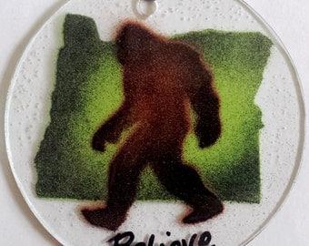 Oregon State Bigfoot Sasquatch Fused Glass Suncatcher Christmas Ornament