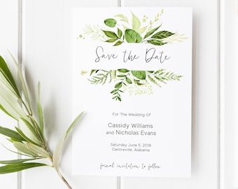 Save the Date Template, Greenery Save the Date, Printable Save the Date, DIY Save the Date, Greenery, Printable, Editable Template, Instant