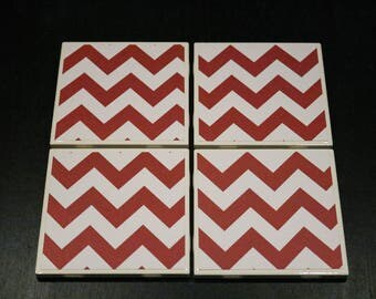 Red Chevron Coasters ~ Red Tile Coasters ~ Chevron Custom Coasters ~ 3Cstylesandprints~ Teacher Gift ~ Ceramic Tile Coasters