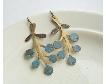 Dark blue blueberries two sides earings