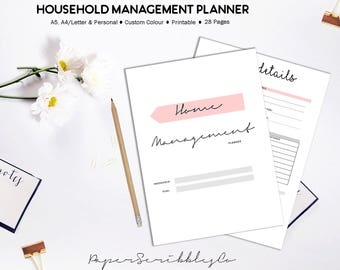 Home Management Binder, Home Organization, Household Planner, Printable Planner, Cleaning Planner, Cleaning Schedule, Custom Colors