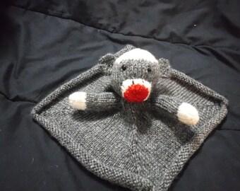 Hand knitted sock monkey mini security blanket