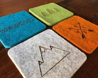 Wool Felt Coasters - Wander Set - Rustic home decor - Adventure decor - Drink Coasters - Set of 4 - 100% Merino Wool - Gift Set