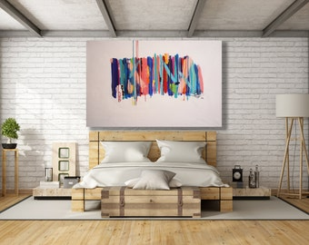 XL Colorful Abstract Painting / Texture Painting / Modern Art / Contemporary Art / Oversized Painting / Abstract Art
