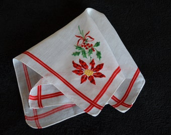 Handkerchief with Red Christmas Poinsettia Flower