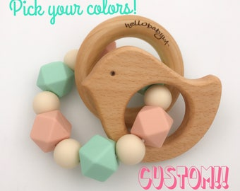 CUSTOMIZED Silicone Teether with Wooden Animal Ring | Ring | Choose Your Own | Teething Rattle Baby | Colors | Hexagon | Make Your Own DIY