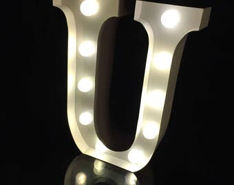 "Metal white U marquee letter marquee light 9""height light up alphabet letter wedding room lighting night light nursery light  kids light"