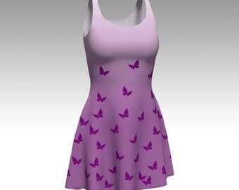 Butterfly Dress, Purple Ombre, Purple Ombre Dress, Purple Butterflies, Flare Dress, Skater Dress, Fit and Flare, Fitted Dress, Bodycon Dress