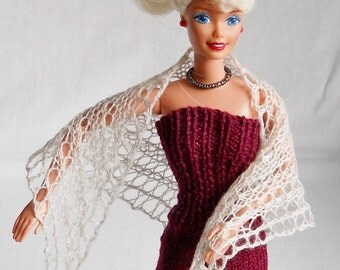 off white hand knit lacy shawl for 11 1/2 inch fashion doll