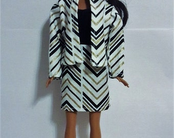 """Handmade 11.5"""" Doll Clothes- Dress and Jacket fits Barbie Dolls"""
