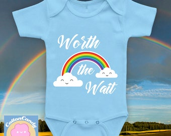 Worth the Wait - Rainbow Baby Bodysuit, Rainbow Baby Photoshoot Onesie, Whats a Rainbow Baby Rainbow Loom Design Etsy Double Rainbow CCB-574
