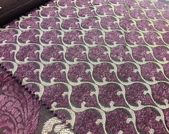 SALE!!!FedEx!!!by the Meters,Yards,Damask,Chenille,Jacquard,Turkish,Ottoman,Exclusive Chenille Upholstery Fabric, Fabric-ALYS COMB Purple