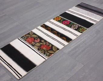 Turkish Patchwork Kilim ,Rug ,Carpet ,Anatolian Besarabian,Karabag Kilim Patchwork -wool rug-Handmade, 80x240=1.92 m2