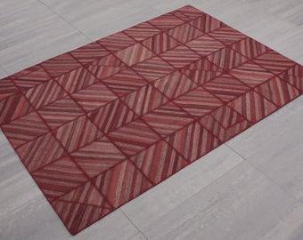 Turkish Patchwork Kilim ,Rug ,Carpet ,Anatolian,Striped  Patchwork rug-Handmade,Burgundry,170x240=4.08 m2, 6x8 ft