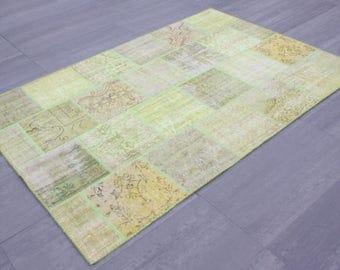 Turkish Patchwork Carpet ,Rug ,Carpet ,Anatolian Striped Patchwork -wool rug-Handmade,Green multi ,170x240=4.08 m2,6x8 ft