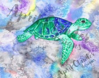 Turtle Watercolor Print