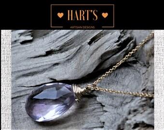 Pink Amethyst Gemstone Solitaire Teardrop 14K Gold Necklace