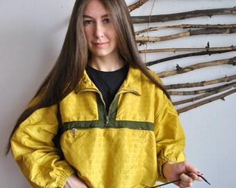 140 Rain coat 1990s 1980s yellow vintage anorak bright outdoor windbreaker