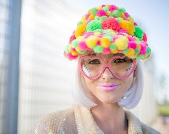 Pom pom visor for festival and raves / Burning Man