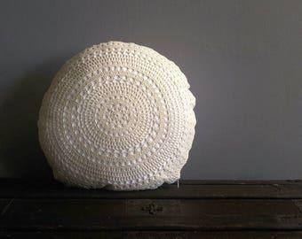 Crochet Round Cushion   Round Pillow   Boho Pillow   Decorative Pillow   Crochet Cushion   Crochet Pillow   Doily Pillow Cover   Doily