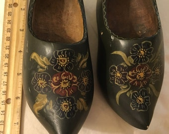 Little Wooden, hand-painted shoes, for a child or for decoration, Vintage