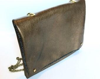 NEW! Shoulder lamb leather handbag gold
