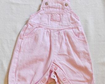 Vintage 90s Baby B'Gosh Pink/White Striped Overalls