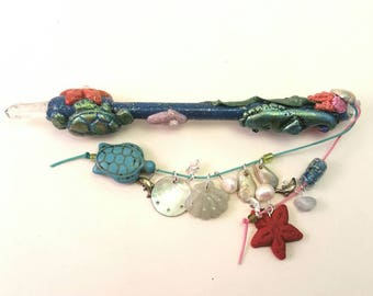 Under the Sea Ocean Theme Fairy Wand - Sea Turtle and Seahorse Sea Shells Beach Water Sea and Sand Wand
