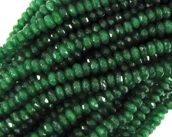 6pcs Genuine Micro Faceted Emerald Beads/ 2mm 3mm 4mm Real Green Emerald Rondelle Loose Beads/ Natural Emerald Stone Precious Gemstone Beads