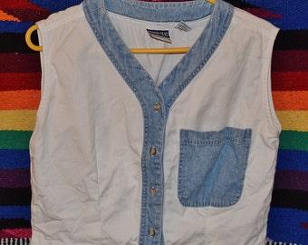 Vintage 80s 90s White Denim Trim Button up Crop Top Size Small